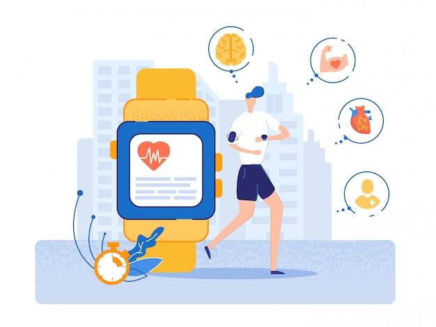 Bannière smart watch avec des indicateurs de santé physique