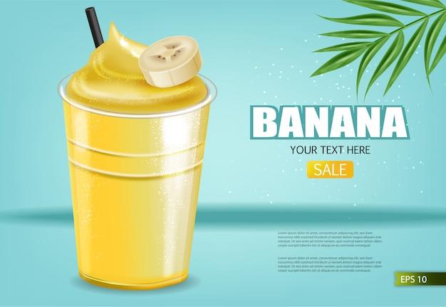Bannière de smoothie à la banane
