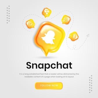 Bannière de snapchat d'icônes de médias sociaux