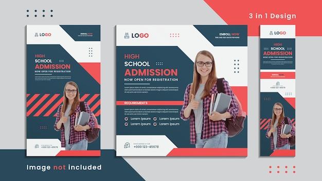 Bannière sociale d'admission au lycée 3 en 1 design avec maquette créative