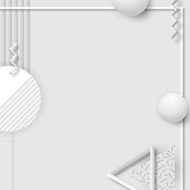 Bannière sociale de conception géométrique grise de memphis