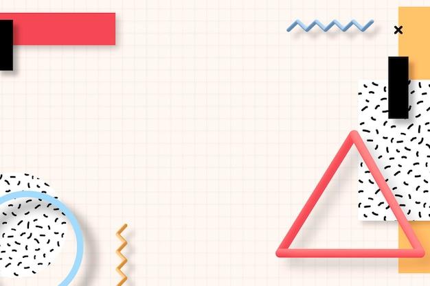 Bannière sociale géométrique colorée de memphis