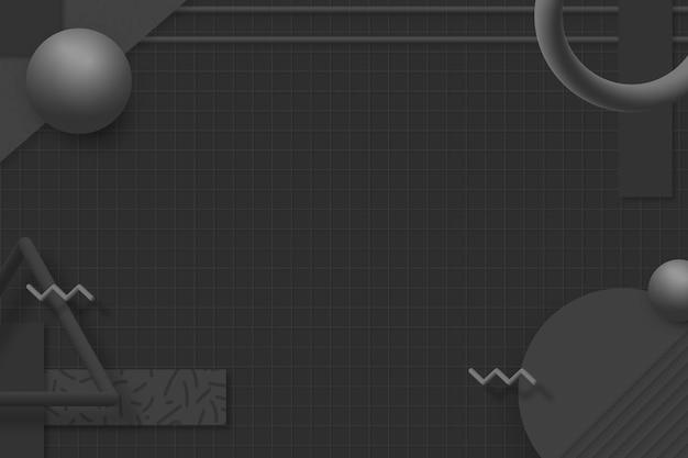 Bannière sociale géométrique noire de memphis