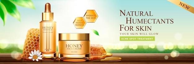 Bannière de soins de la peau au miel naturel