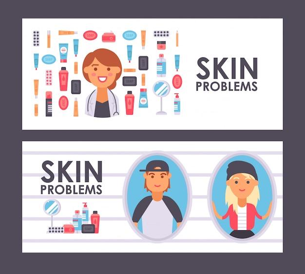 Bannière de soins de la peau, illustration. produits de traitement dermatologique professionnel pour les adolescents ayant des problèmes de peau. icônes de style plat, docteur en soins de la peau souriant