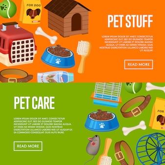 Bannière de soins pour animaux de compagnie définie dans un style bande dessinée