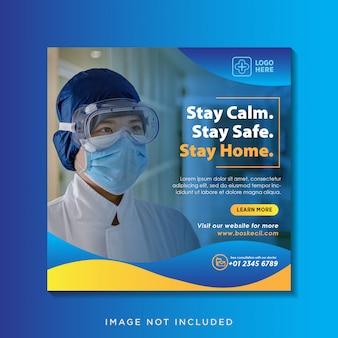 Bannière de soins de santé ou flyer carré avec thème de prévention des virus pour le modèle de publication sur les médias sociaux