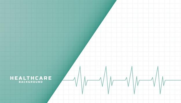 Bannière de soins de santé et médicaux avec ligne de battement de coeur