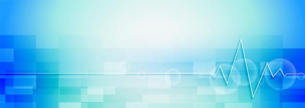 Bannière de soins de santé et de science médicale de couleur bleue