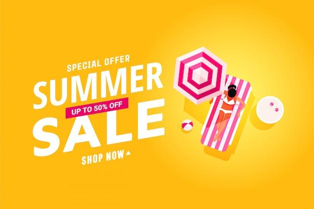 Bannière de soldes d'été avec un design plat de personnes au repos dans la piscine, les voyages et les vacances