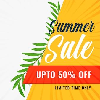 Bannière de soldes d'été avec les détails de l'offre