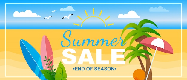 Bannière soldes d'été de fin de saison lettrage marketing promotion