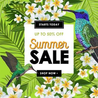 Bannière de soldes d'été avec fleurs et colibris