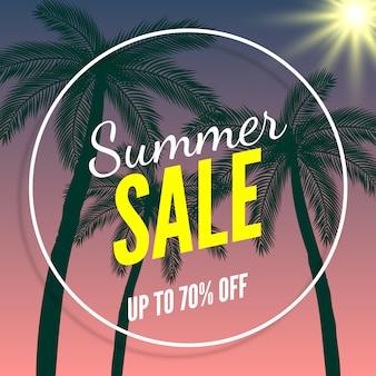 Bannière de soldes d'été, jusqu'à 70% de rabais. palmiers et soleil.