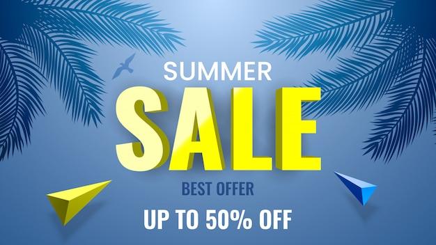 Bannière de soldes d'été, meilleure offre, jusqu'à 50% de réduction. thème tropical avec des branches de palmier.