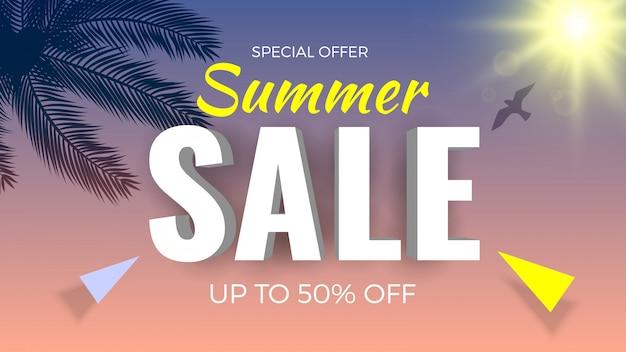 Bannière de soldes d'été, offre spéciale, jusqu'à 50% de réduction. thème tropical avec des branches de palmier et du soleil.