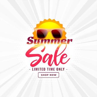 Bannière de soldes d'été avec soleil et lunettes de soleil