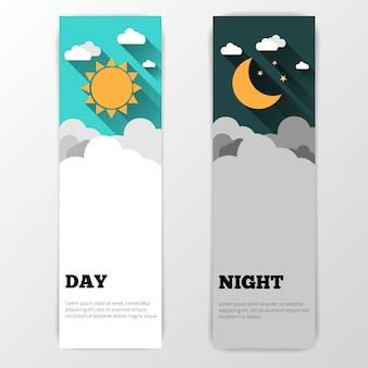 Bannière de soleil, lune, étoiles et nuages. bannière de concept de jour et de nuit. dépliant de la journée ensoleillée. dépliant star moon night. contexte. bannière de concept de prévision.