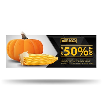Bannière sombre avec citrouille et épi de maïs