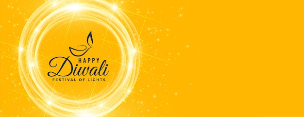 Bannière de souhaits brillants jaune diwali heureux