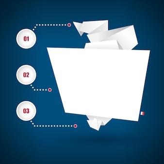 Bannière sous forme de papier origami sur fond bleu avec des éléments d'infographie