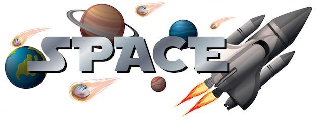Bannière spatiale avec planète