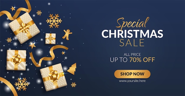 Bannière spéciale de vente de noël avec coffrets cadeaux et décoration dorée