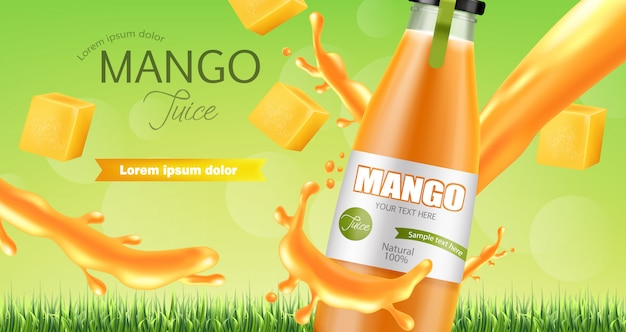 Bannière splash de jus de mangue