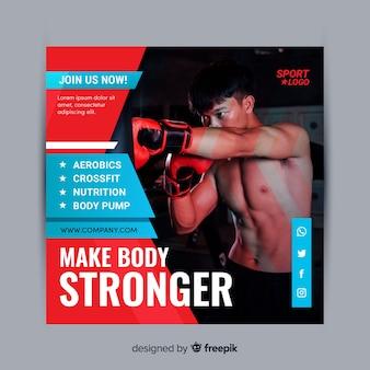 Bannière de sport corps plus fort