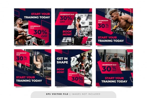 Bannière de sport de gym ou modèle de publication sur les médias sociaux