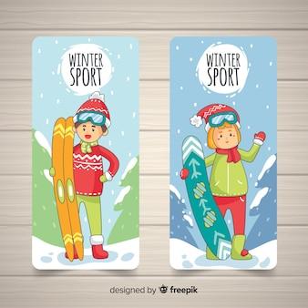 Bannière de sport d'hiver dessiné à la main