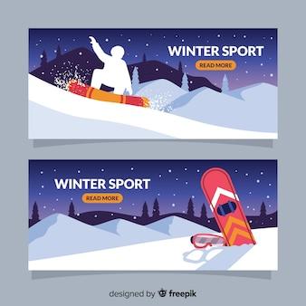Bannière de sport d'hiver de nuit