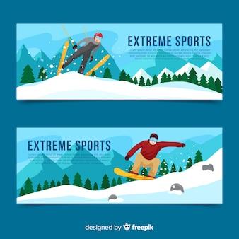Bannière de sport d'hiver de saut