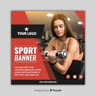 Bannière de sport moderne avec photo