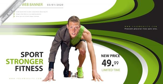 Bannière de sport ondulée verte