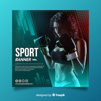 Bannière de sport plat avec photo