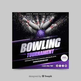Bannière de sport de tournoi de bowling