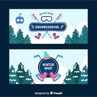 Bannière de sports d'hiver de pins enneigés