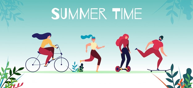 Bannière des sports de motivation de l'heure d'été