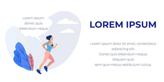 Bannière avec sporty running girl et texte promotionnel