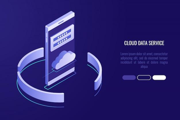 Bannière de stockage de données cloud, smartphone avec icône cloud et formulaire d'autorisation
