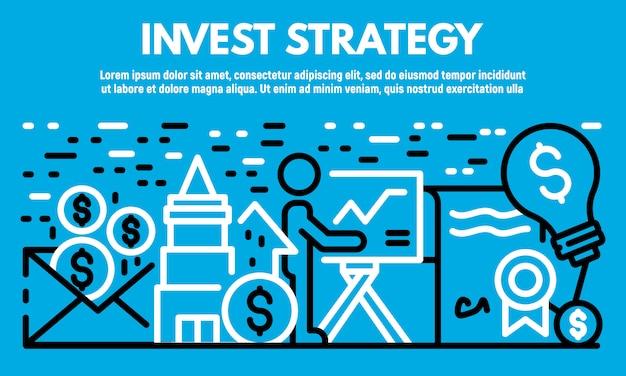 Bannière de stratégie invest, style de contour