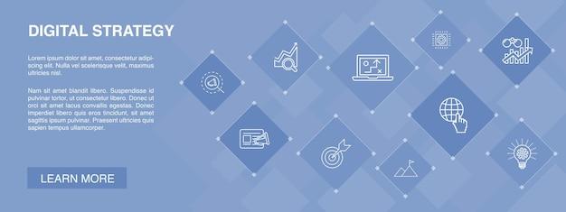 Bannière de stratégie numérique 10 icônes concept.internet, référencement, marketing de contenu, icônes simples de mission
