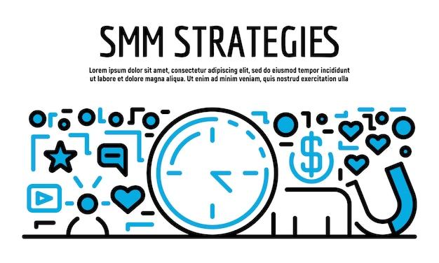 Bannière de stratégies smm, style de contour