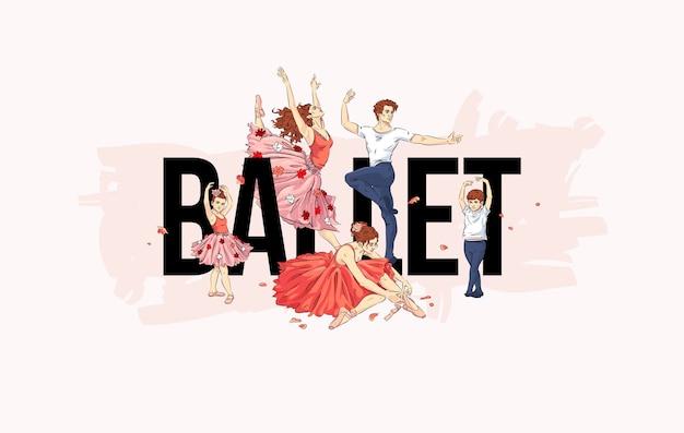 Bannière de studio de ballet avec des danseurs de ballet et des pétales