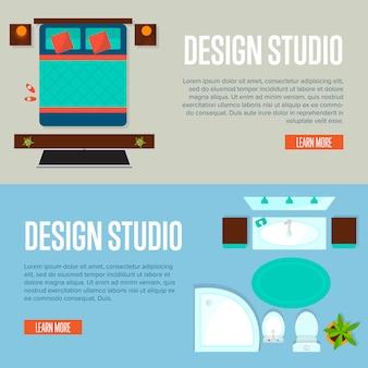 Bannière de studio de conception avec appartement vue de dessus