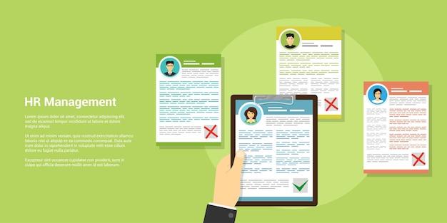 Bannière de style, concept de ressources humaines et de recrutement, main humaine, fichiers cv et avatars de personnes