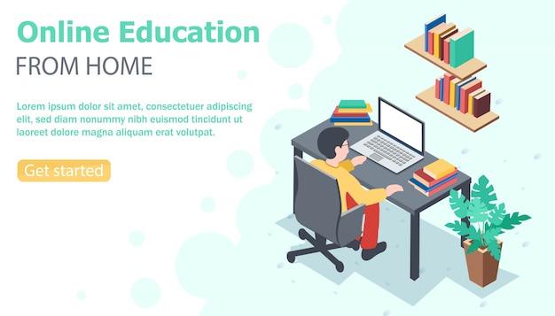 Bannière de style éducation en ligne à domicile. étudiant assis au bureau avec un ordinateur portable et une pile de livres dessus et des étagères.