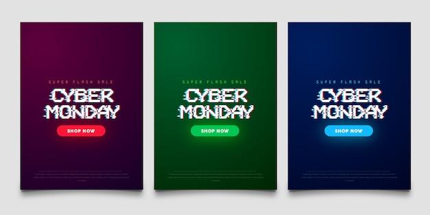 Bannière de style gltich foncé cyber monday