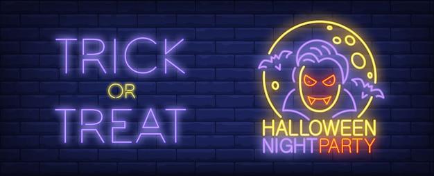 Bannière de style néon halloween night party. trick or treat texte, vampire, chauves-souris et lune